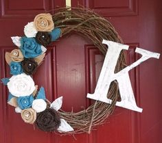 Grapevine wreath with burlap and lace flowers by TheSwankyTrunk, $35.00