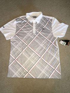 "NWT Mens ""Head"" Golf/Tennis Polo Shirt Dri-Motion XL Gray White #HEAD #ShirtsTops"