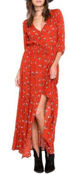 Dandelion print boho chic red maxi dress. AMUSE SOCIETY Kimia Print Maxi Dress