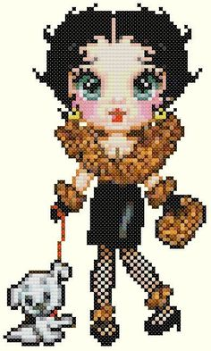sandylandya@outlook.es  Betty Boop and Pudgy Cross Stitch Pattern