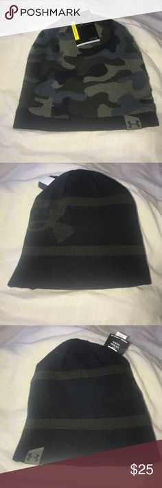 UA Reversible Beanie Men Ski & Snowboard Headwear Soft knit fabric delivers all-day comfort & warmth Reversible design is solid on one side & UA Tracer Camo on the other Material wicks sweat & dries really fast Woven UA logo Acrylic/Nylon/Elastane Imported Under Armour Accessories Hats