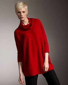 Wool Turtleneck Sweater & Washable Straight-Leg Pants, Women\'s by Eileen Fisher at Neiman Marcus.