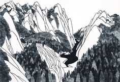 beyond scenery no.8 - park young hak, crushed rock and charcoal on korean traditional paper
