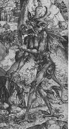 Detail from De verzoeking van Christus 1491 1500 School of Martin Schongauer Arte Horror, Horror Art, Medieval Art, Renaissance Art, Dark Fantasy, Fantasy Art, Satanic Art, Arte Obscura, Demon Art