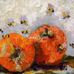 Apples and Bees Oil Painting offered by www.finearthomedecor.com by artist Ginette Callaway of www.ginettefineart.com