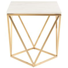 The Jasmine side table is notable both for its innovative design and structural grace. A solid marble tabletop rests on a delicate framework of squares and triangles constructed in gold brushed stainless steel, inspiring a sense of lightness and refinement.