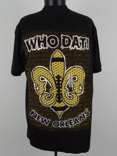 Who Dat! New Orleans Decky Mens XL Black T Shirt New With Tags 100% Cotton