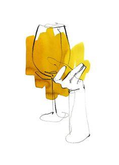 """Wein"" illustration for Schluck magazine Germany Illustration Design Graphique, Watercolor Illustration, Minimalist Drawing, Minimalist Art, Painting Inspiration, Art Inspo, Art Du Vin, Art Sketches, Art Drawings"