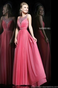 Sherri Hill Lace and Jersey Prom Dress. Available in Light Blue, Lilac, Coral (pictured).