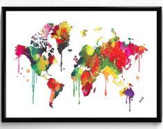 WORLD Map Watercolor illustrations Art Print Giclee Wall Decor Christmas Gift Housewarming Gift Wedding Gift Birthday Gift