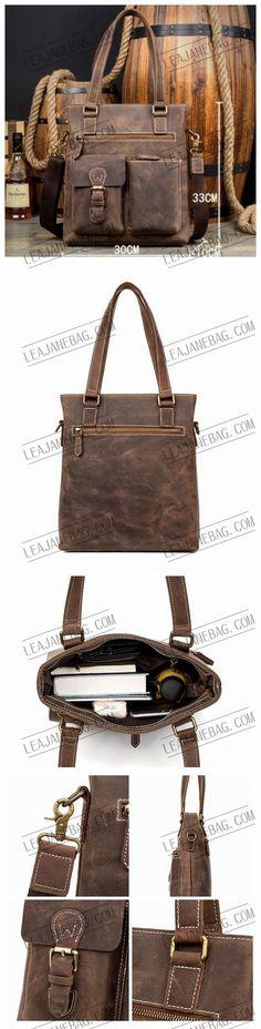 Leather Shoulder Tote Bag, Vintage Handle Bag, Womens Bag MS133