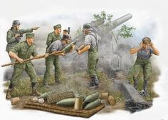 German Field Howitzer Firing Crew Figure Set (5)  Stuks