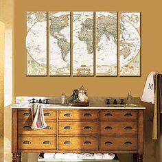 Stretched Canvas Art  World Map Set of 5 – GBP £ 78.64