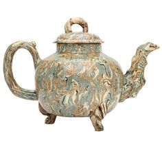 A Rare English Solid Agate Pottery Teapot | From a unique collection of antique and modern pottery at http://www.1stdibs.com/furniture/dining-entertaining/pottery  15,000.00