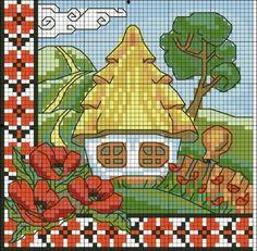 Хатки / Вышивка / Схемы вышивки крестом, вышивка крестиком