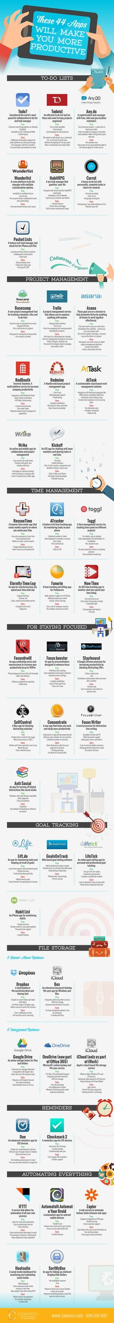 These 44 Apps Will Make You More Productive!  Toggl is my personal fave!
