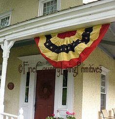 """Primitive Americana Large 56"""" Bunting Flag Indoor Outdoor Tea Stained Cotton #NaivePrimitive"""