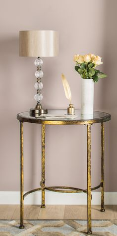 Discover our fantastic range of living room tables from wooden tables to glass tables - we have it all. Shop console tables, side tables, coffee tables and nests of tables. Shop Online now! Bedroom End Tables, Entryway Tables, Going For Gold, Round Side Table, Side Tables, Gold Home Decor, Corner Table, Round Mirrors, Apartment Interior