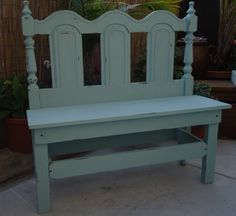 SOLD - Repurposed Vintage Headboard - Bench is in Duck Egg Green