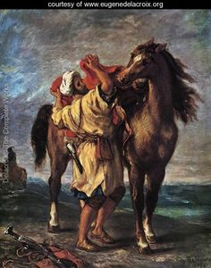 Marocan And His Horse - Eugene Delacroix - www.eugenedelacroix.org