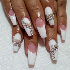 White and white tip coffin nails with bling ♦
