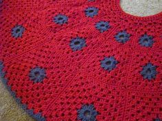 Crocheted Christmas Tree Skirt Red and Gray by crochetedbycharlene, $79.00