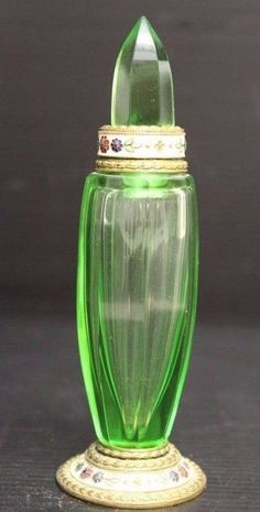 "Vintage Green Glass Perfume Bottle w/ Floral Design, 5 1/2"" ~ Made in Austria"