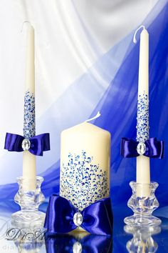 Royal blue Wedding Unity Candle. Set of 3. by DiAmoreDS on Etsy
