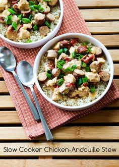 Slow Cooker Chicken-Andouille Stew is spicy and delicious!  I used chicken Andouille sausage to keep the fat content lower. (Gluten-Free) [from KalynsKitchen.com]