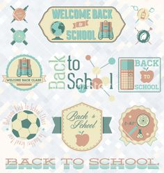 Retro style back to school labels vector - by JamesDaniels on VectorStock®