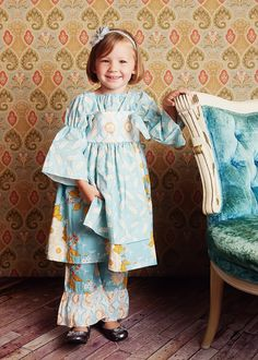 Childrens Clothing Fall Girls Knot Dress in Damsel Sky.
