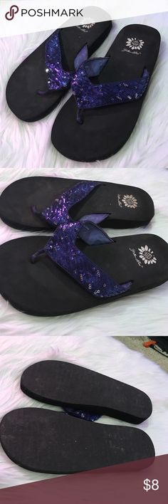 Blue sequins flip flops Blue sequins yellow box flip-flops size 6 1/2... some wear but lots of life left ...see pics Yellow Box Shoes Sandals