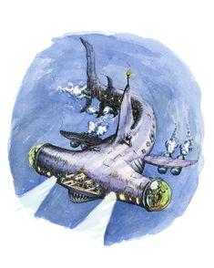 Hammerhead Submarine, 8 x 10 inch art print by Joy Kolitsky of Sugar Beet Press