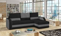 Colțar extensibil Giulio Black Grey, 90x150x237 cm, spuma/ lemn/ plastic/ poliester, negru/ gri Outdoor Sectional, Sectional Sofa, Couch, Lounge, Paros, Outdoor Furniture, Outdoor Decor, Modern Design, Black And Grey
