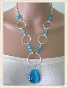 Circles... Turquoise Cat's Eye Necklace