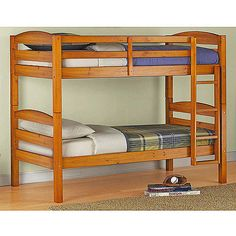 Kids Bunk Bed Twin Over Pine Solid Wood Bedroom Convertible Beds Furniture Frame