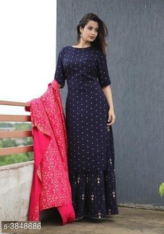 Dupatta Sets Women Printed Rayon Kurta Set with Skirt Fabric: Kurti -Rayon Skirt - Rayon  Dupatta - Rayon  Sleeves: Sleeves Are Included Size: Kurti - S- 36 in M - 38 in L - 40 in XL - 42 in XXL - 44 in 3XL - 46 in Skirt - S - 28 in M - 30 in L - 32 in XL - 34 in XXL - 36 in3xL - 38 in Length: Kurti - Up To 46 in Skirt - Up To 40 in Type: Stitched Description: It Has 1 Piece Of Kurti With 1 Piece Of Skirt And 1 Piece Of Dupatta Work: Zari Work Country of Origin: India Sizes Available: S, M, L, XL, XXL, XXXL   Catalog Rating: ★4.1 (1870)  Catalog Name: Women Rayon A-line Printed Skirt Dupatta Set CatalogID_540598 C74-SC1853 Code: 566-3848686-1671