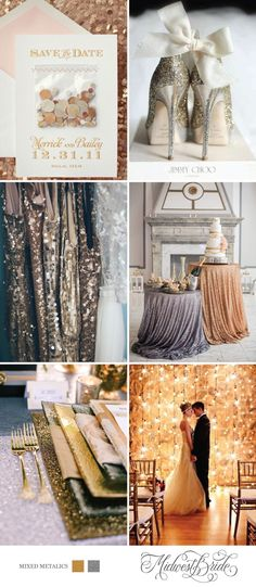 We are sharing a mixed metallics wedding inspiration board that would be perfect for a romantic New Year's Eve wedding!