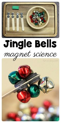 Preschool Magnet Science with Jingle Bells #preschool #Preschoolers #PreschoolActivities #JingleBells #PreschoolScience #PreschoolCenters #Science #Christmas #ChristmasActivities #ChristmasActivitiesforKids #FunADay