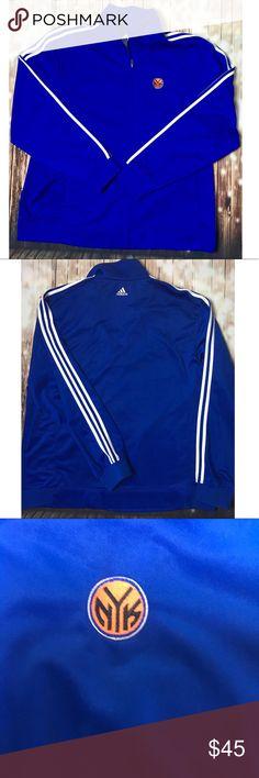 Adidas New York Knicks Track Jacket I'm like new condition, Knicks blue, classic three stripe sleeves, NYK logo on chest. Men's size 2XL. adidas Sweaters Zip Up