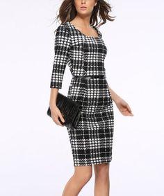 Look at this #zulilyfind! Black & White Cell Square Neck Sheath Dress - Women #zulilyfinds
