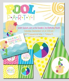Mermaid Pool Party Printable Invitation and Package. $30.00, via Etsy.