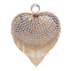 Aliexpress.com : Buy HOT heart design women evening bags tassel rhinestones ring diamonds beaded small evening bag for wedding handbags from Reliable bag product suppliers on LADY GAGA Women's World Trade Co LTD