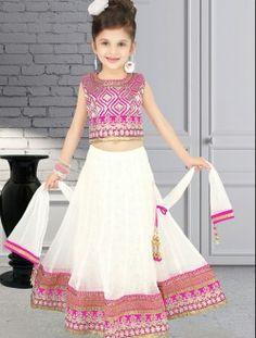 Excellent White Net Designer Kids Wear Lehenga Choli