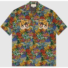 Gucci Floral Print Silk Bowling Shirt ($995) ❤ liked on Polyvore featuring men's fashion, men's clothing, men's shirts, men's casual shirts, mens bowling shirts, mens embroidered shirts, mens floral print shirts, mens silk shirts and gucci mens shirts