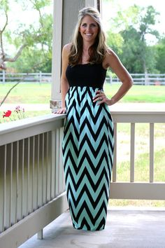 Sugar Pop Chevron Maxi Dress - Mint