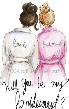 Brunette Bride, Blonde Bride, Dark Brunette, Dark Blonde, Be My Bridesmaid Cards, Will You Be My Bridesmaid, Bridesmaid Hair, Bridesmaids, Best Friend Drawings