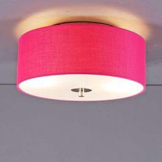 Deckenleuchte Drum 30 rund pink: Schlichte und elegante Deckenleuchte mit einem Lampenschirm aus Baumwolle. Der Lampenschirm ist an der Unterseite mit edlem Mattglas abgedeckt. #Deckenleuchte #innenbeleuchtung #wohnen #einrichten #modern