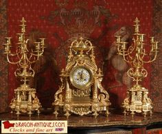 Superb Japy Freres Large Antique French Brass Clock Set