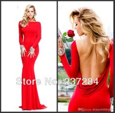 Wholesale - 2014 Cheap Sexy New Red Long Sleeves Jersey Mermaid Prom Dresses Backless Ruffles Beaded Evening Gowns